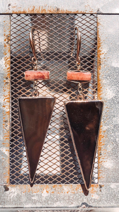 Dark Natural Stone Upside Down Triangle Earrings