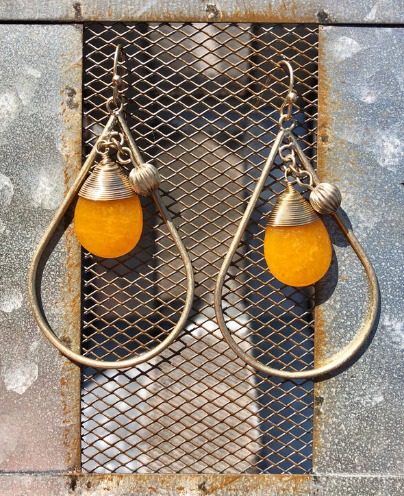 Gold Teardrop Earring with Orange Stone