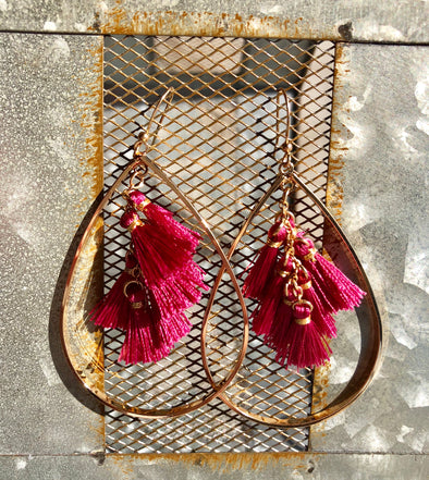 Large Gold Teardrop Deep Pink Tassel Earrings