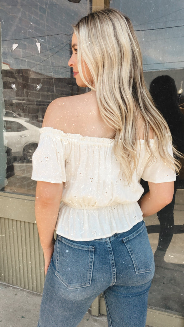 Islet Ivory Embroidered Off the Shoulder Blouse