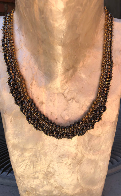 Handmade Gold and Gunmetal Beaded Choker