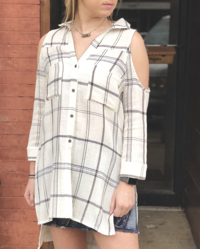 cold shoulder plaid button up top