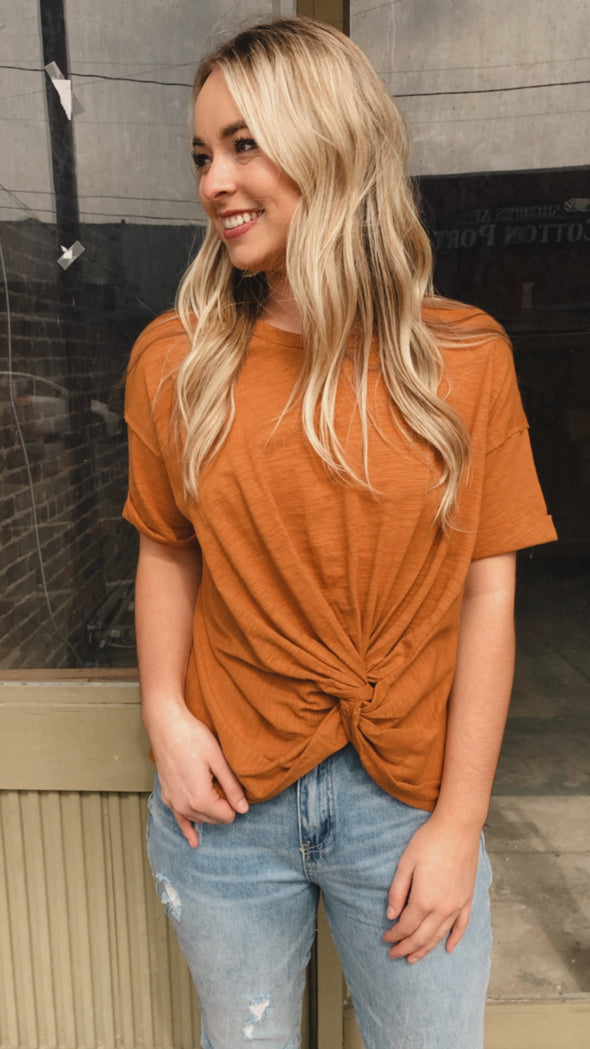 Nothing but Comfort Butter Scotch Twist Knot Tee