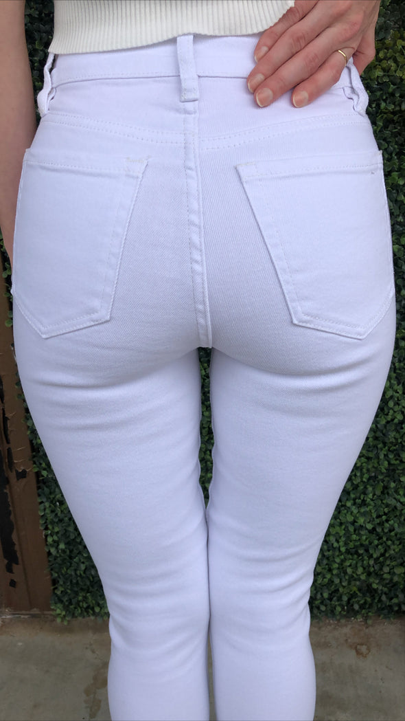 Baton Rouge White Vintage High Rise Skinny Ankle Length Stretch Jeans