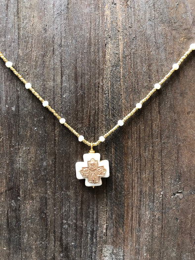 Andrea Barnett - Handmade Tiny Cross on White Stone with Gold Heishi and White Pearl Chain