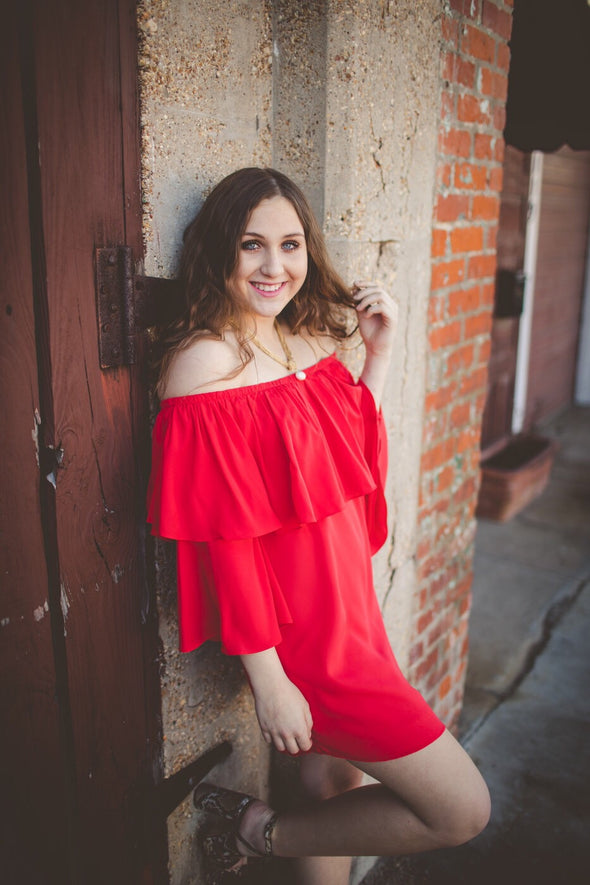 Scarlet Red Off the Shoulder Layered Dress