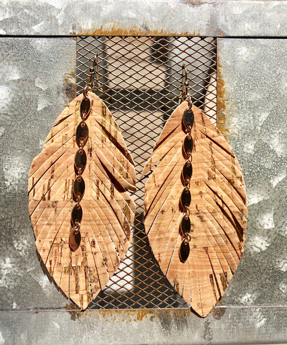 Dark Cork Feather Earrings with Gold Chain