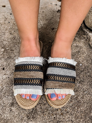 tribal aztec fringe sandals