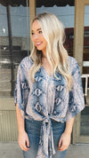Natural Blues Snake Print Front Tie Top