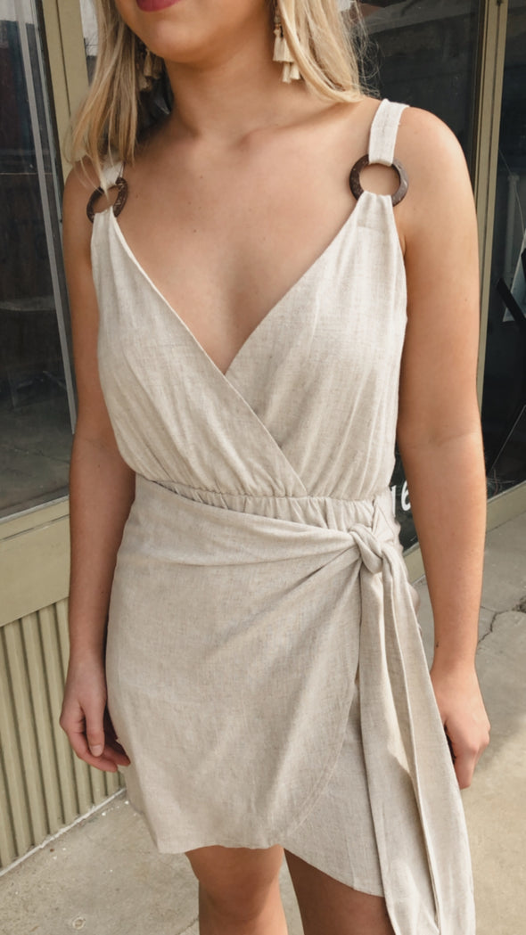 Whitley Linen Natural Wrap Dress