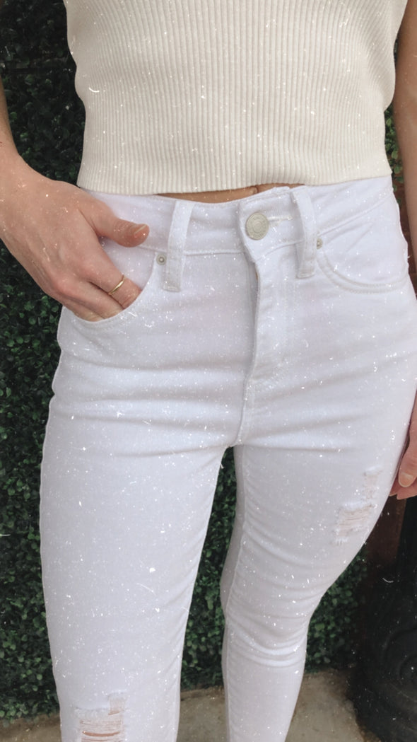 Monroe High Rise White Vintage Distressed Stretch Jeans