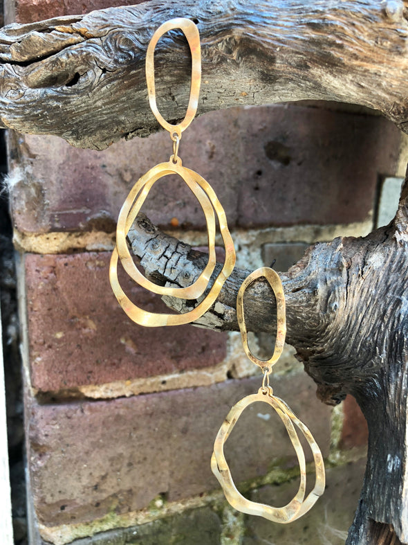hammered gold abstract earrings