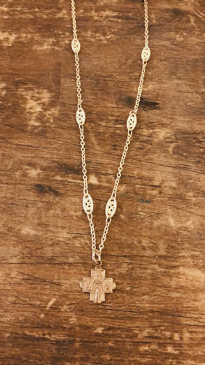 Andrea Barnett - Tiny Cross on Gold Filigree Chain