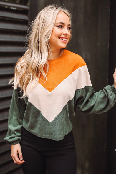 Barley Ribbed Retro Color Block Top