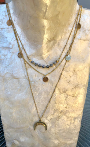 Crescent Multi Layer Necklace with Grey Stone