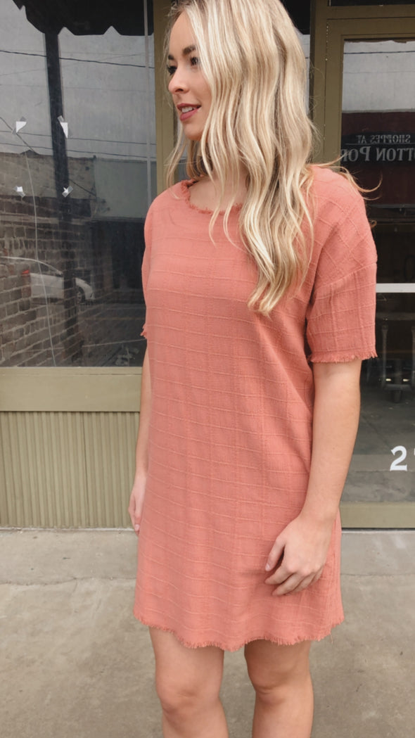 Sangrene Salmon Shift Dress with Pockets