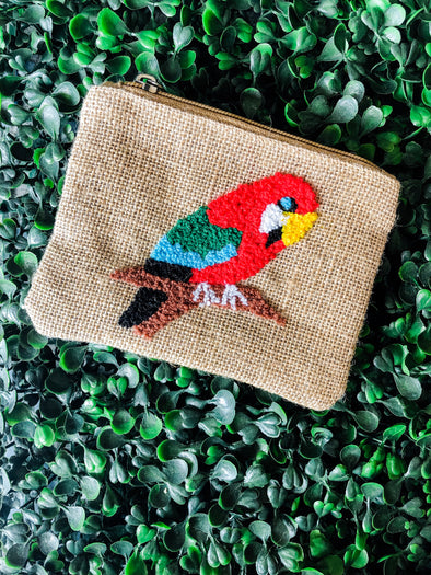 Parrot Embroidered Coin Bag