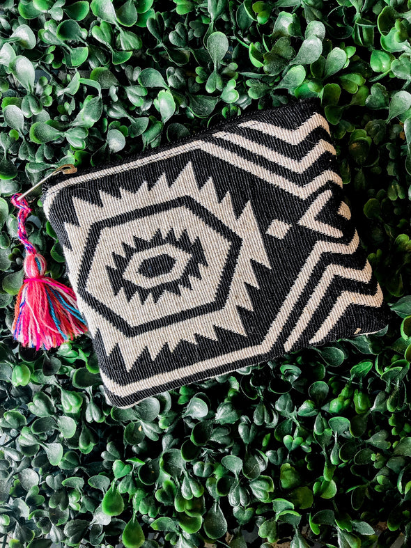 Black and White Aztec Coin Purse