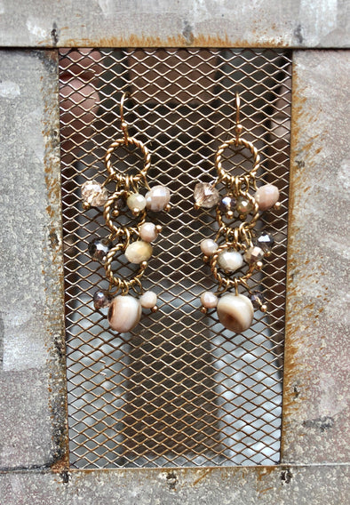 Multi-Bead Sparkle Dangle Earrings