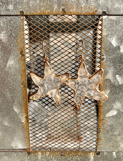 Clear Starfish Earrings with Gold Trim