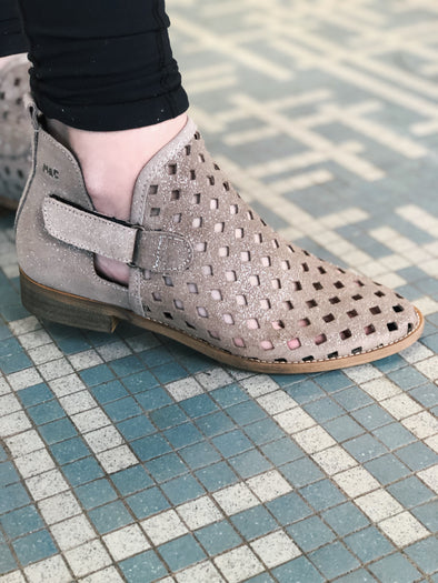 Perforated Taupe Metallic Bootie