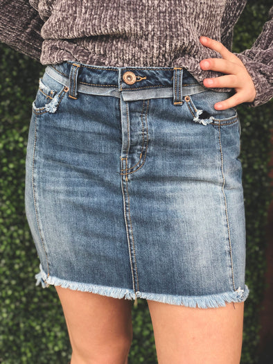 high low denim jean skirt