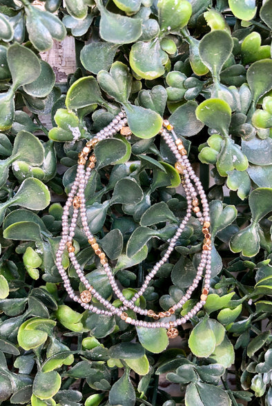 Gold and Silver Beaded Stretch Bracelets