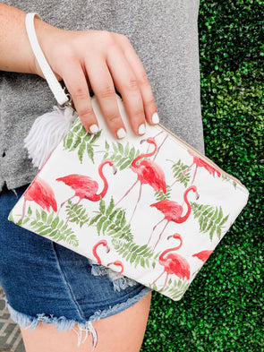 Flamingo Tropical Makeup Bag Wristlet