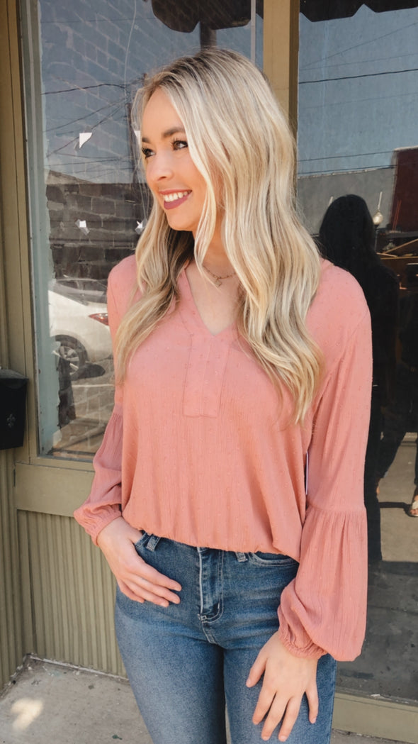 Posie Spotted Mauve Scrunch Top