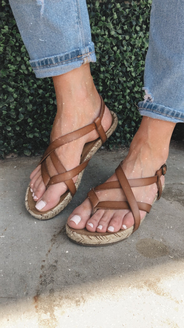 Suntan Strappy Sandal with Roped Bottom