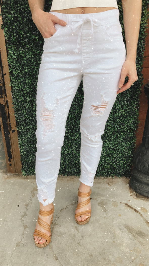 Lafayette High Rise White Tie Stretch Joggers