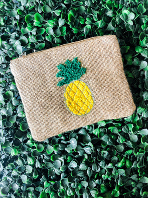 Pineapple Embroidered Coin Bag
