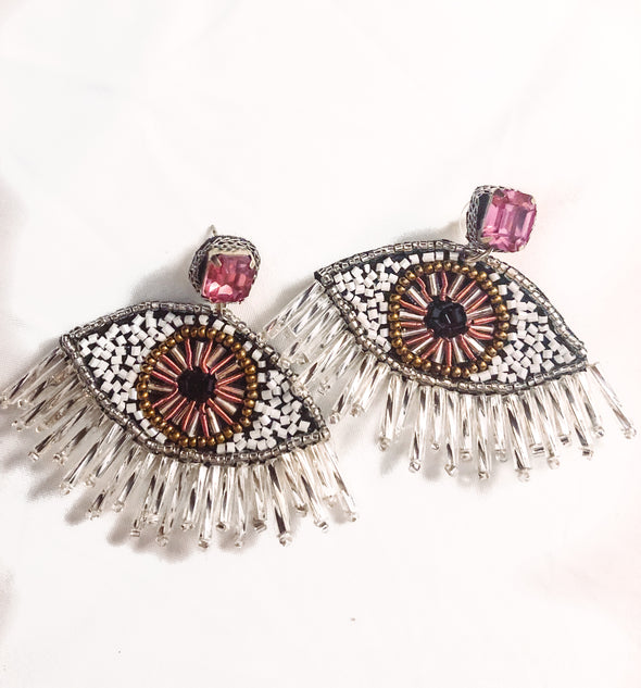 evil eye beaded rhinestone earrings