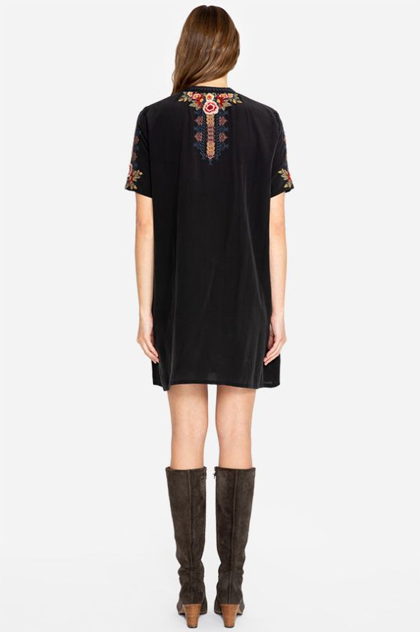 Johnny Was Black Embroidered Silk Dress