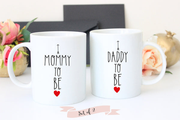 Pregnancy Announcement Coffee Mug Set, Baby Shower Gift