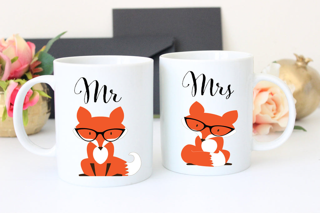 Mr and Mrs Fox Coffee Mugs, Wedding Gift for Bride and Groom