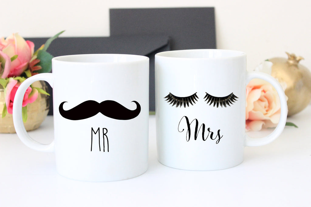 Mr and Mrs Coffee Mugs, Funny Wedding Gift