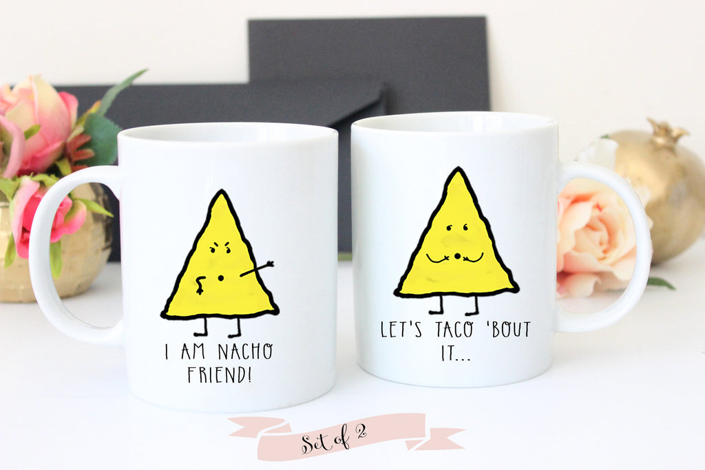 Taco and Nacho Mug Set, Funny Coffee Mugs