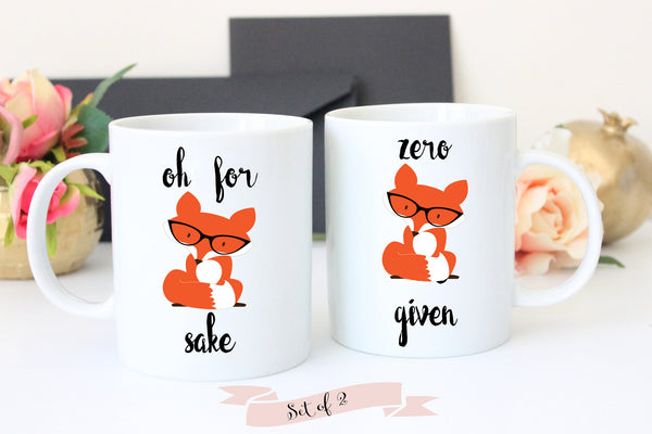 Zero Fox Given and Fox Sake Coffee Mug Set, Funny Coffee Mugs