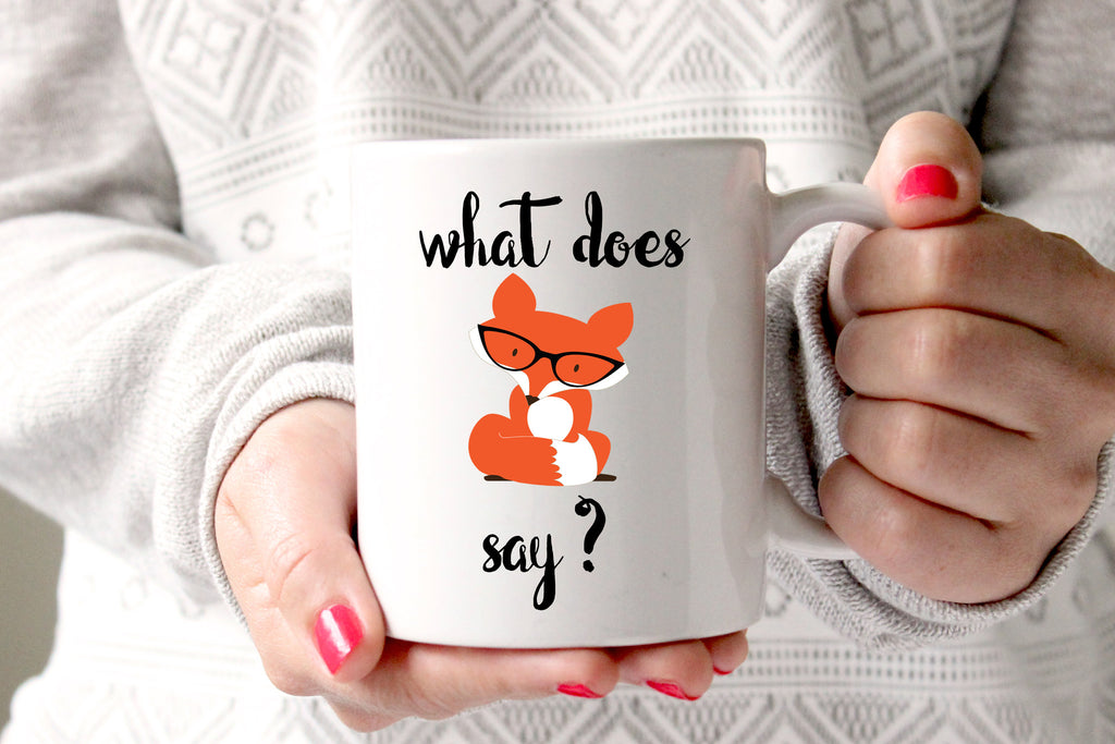 What Does Fox Say Coffee Mug, Funny Coffee Mug