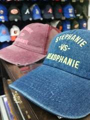 Stephanie - vs - Headphanie Denim Dad Hats by Luke&Lynn Clothing