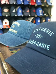 Stephanie - vs - Headphanie Navy/Neon Dad Hats by Luke&Lynn Clothing