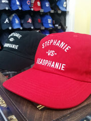 Stephanie - vs - Headphanie Red Dad Hats by Luke&Lynn Clothing