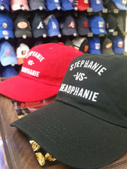 Stephanie - vs - Headphanie Black Dad Hats by Luke&Lynn Clothing
