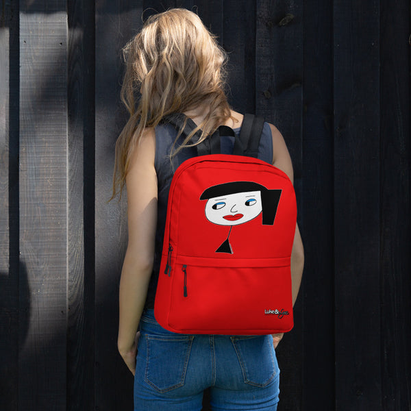 """Lynn Beauty Face"" Red Backpack"