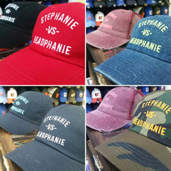 Stephanie - vs - Headphanie Red Black Camouflage Denim Dad Hats by Luke&Lynn Clothing