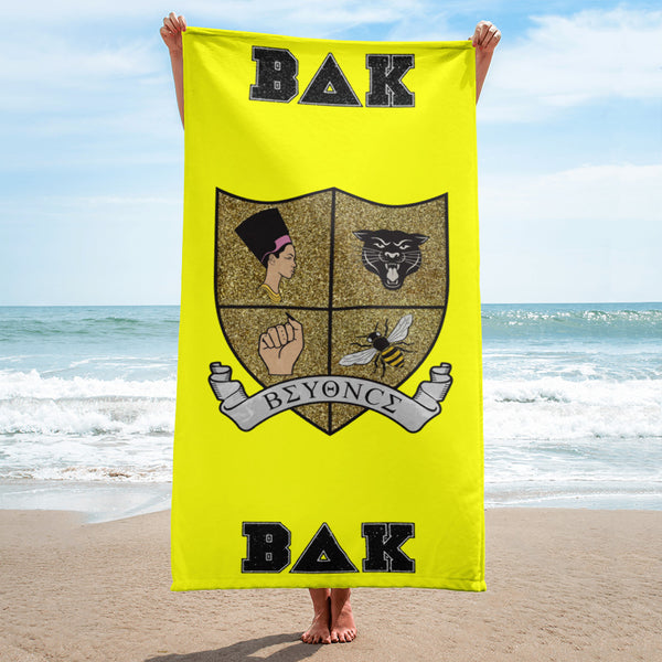 """Bey-University"" Yellow Beach Towel"