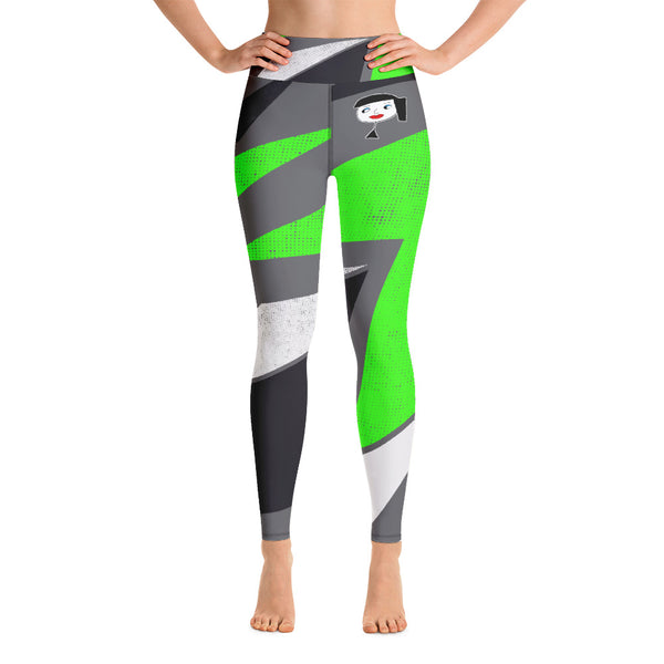 """Lynn Beauty-Face"" Grey-Neon Green Lightning Yoga / Workout Leggings"