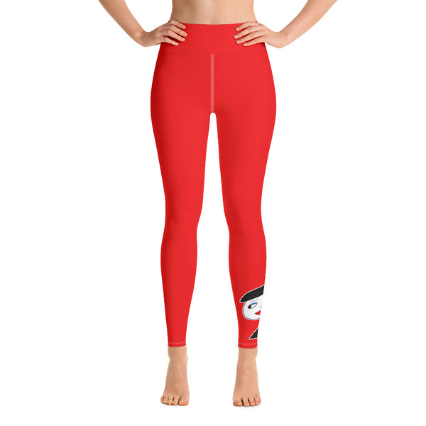 """Lynn Beauty-Face"" Red Yoga / Workout Leggings"