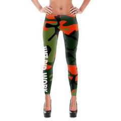 """Just Did Work."" polyester/spandex camouflage leggings"